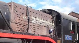 R707 outside Newport Workshops for washout showing stays replaced during boiler repairs